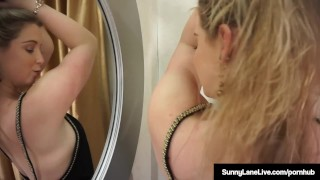Award Winning Blonde Sunny Lane Masturbates Standing Up! Sucking bigtits