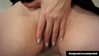 Award Winning Blonde Sunny Lane Masturbates Standing Up! Boobs bangbus