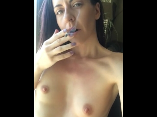 Smoking a Joint Topless - Girl Next Door Smoking Weed