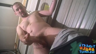 Hairy tough homosexual is eager to spray his big load solo Big cumshot