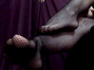 Fishnet Feet Right In Your Face!