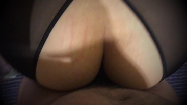 Wife bend over in black lingerie.