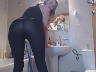 Ass fetish while in the bathroom - sexy ass tease EroticTanya