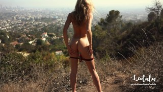 Preview 3 of Public Sex Naked on Hollywood's Hills - Amateur Couple Outdoor LeoLulu