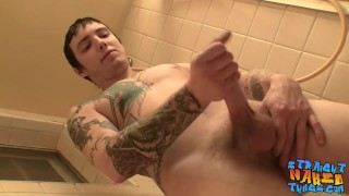 Thug with tattoos stroking his big dick in bathroom