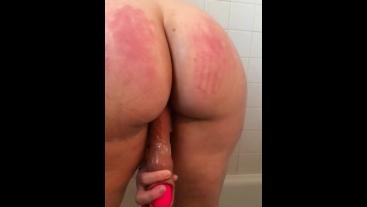 "Wife takes 10"" dildo in shower"