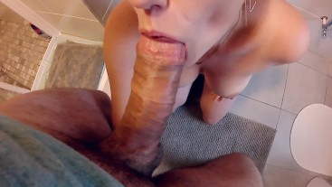 POV bathroom blowjob! Cock sucking with cum sprayed all over her giant tits