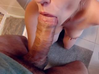 Porn Lasbian Pov Bathroom Blowjob! Cock Sucking With Cum Sprayed All Over Her Giant