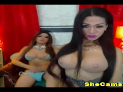 Two Hot seductive shemale couple perform a nice shows
