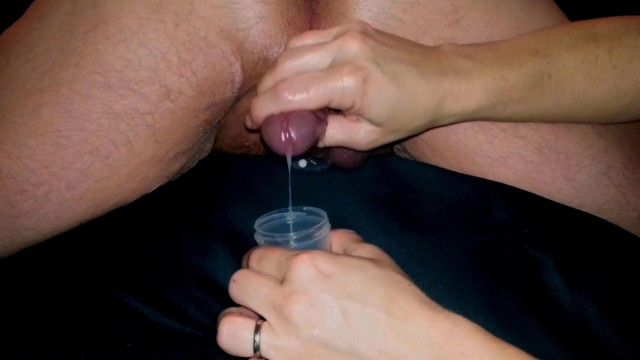 amateur husband cum shot glass drink