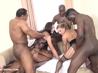 Big anal butt plug babes get triple anal penetration and pussy fucked by 4 black men, dfbnetwork ass