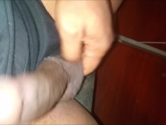 Stroking my black cock cum and pee compilation