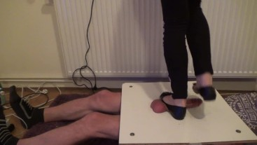 Stomping and jumping on cock and balls in balerinas - Cruel CBT Trample