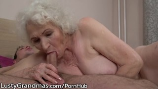 LustyGrandmas Sensual Granny Uses Hairy Box to Ride Young Dick Cock licking