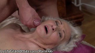 LustyGrandmas Sensual Granny Uses Hairy Box to Ride Young Dick porno