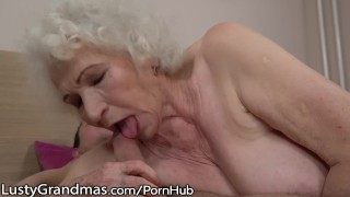 LustyGrandmas Sensual Granny Uses Hairy Box to Ride Young Dick Masturbate orgasm