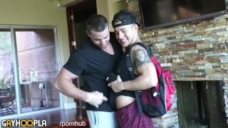 Hard gay alpha jock boy pipes straight before flight kissing cock