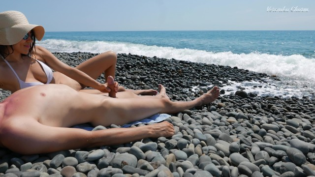 Passage key nude beach - Young stranger made hot handjob on a wild nude beach, public dick massage