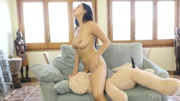 Kira Queen and Carlos, plush toy sex with teddy bear, fantasy porn