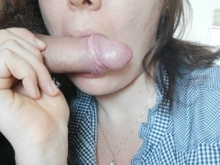 Chubby hairy girl ride huge dildo during suck REAL bf cock POV blowjob