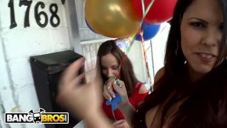 BANGBROS - Dorm Invasion Surprise Party With Diamond Kitty And Friends Girl pawg