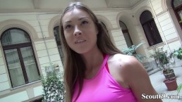 GERMAN SCOUT - Fitness Model Akira May (23) ohne Kondom bei Casting gefickt