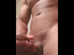 Black Muscle hunk strokes his thick black dick until he moans