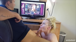 Horny girlfriend game nutaku makes blonde swallow