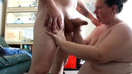 fat wife bbw emma loses bet to me so i get a grumpy blowjob cum on tits