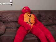 Red Lizard playing with himself on his new fursuit. Pawing Murrsuit Cum