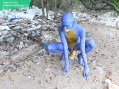 I Transformed Myself Into An Blue Alien... / Bodypaint / Naked Body Art #1