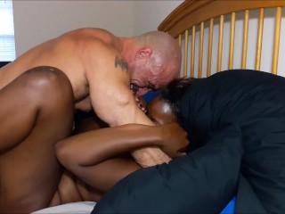 Bukkake video porno licking leads to creampie, black creampie interracial interracial creampie ebony