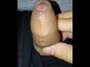 Edging my limp cock, foreskin pre-cum drop