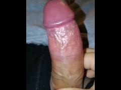 : Jerking my foreskin back and forth feels so nice, my veiny shaft