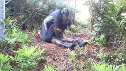 outdoors frogman in cleats attacks dummy