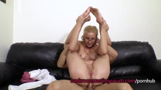Cute Blonde in Glasses Anal and Cum Facial Mark view