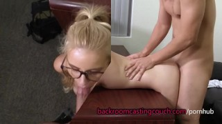 Cute Blonde in Glasses Anal and Cum Facial Doggy fit