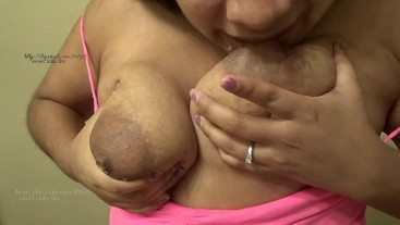 Engorged self sucking lactating milky tits