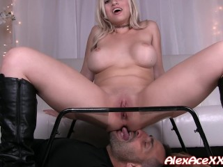 Cristi Ann uses her slave to please her pussy! She has the perfect chair!