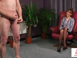 British CFNM office voyeur enjoys JOI