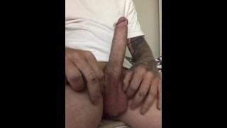Huge big cock!! Hot guy solo masturbation and cumshot.