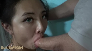 Green Eyed Asian THROATFUCK white cock POV & gets creampie Sukisukigirl Gyno masturbate