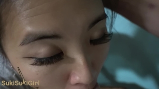 Green Eyed Asian THROATFUCK white cock POV & gets creampie Sukisukigirl Panties asian