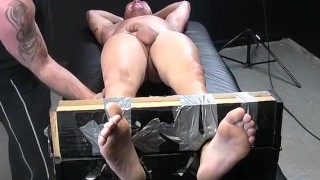 Restrained hot guy wanks while being intensely tickled Anal sex