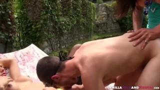 Tgirls spitroast outside Ass anal