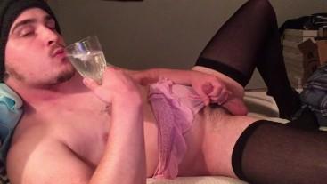 Panties Wedgie Cumslut! Sissy CD gets a CEI & Cums in Glass! Sip of Sperm