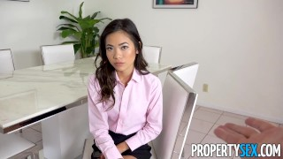 PropertySex - Petite Asian real estate agent takes big cock  doggy style point of view real estate agent big cock babe asian blowjob small tits propertysex skinny missionary brunette cowgirl petite