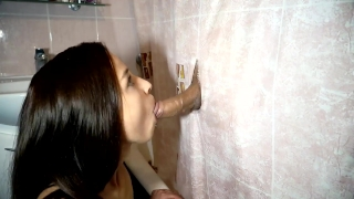 Friend her blowjob replaced the bathroom gloryhole amateur threesome in teenager of