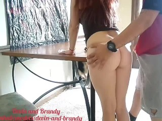 Fat booty cleaning in a thong gets a quick fuck on the dining room table