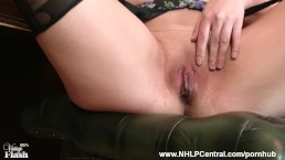 Redhead Anna Belle is your vintage nylon fetish consultant at Jerk Off Club